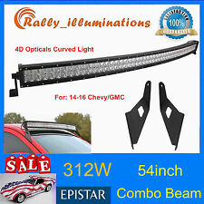 54inch 312W Curved LED Light 4D+Mounting Bracket Fits Chevy/GMC Silverado 14-16