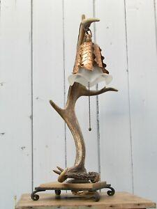 GEWEIH TISCHLEUCHTE h-ca. 60 cm Einzelstück Jagd Jäger um 1930/40