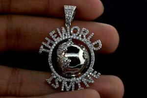 14K White Plated Hip Hop Fashion Spinner World is Mine ICED Bling Pendant Charm