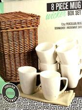 WICKER BOX AND COFFE MUGS Set Of 8 CERAMIC 12 oz. PORCELAIN MUG Dishwasher Safe