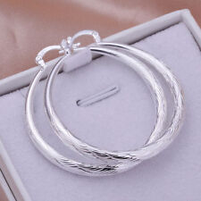 Ladies Fashion Jewelry 925 Sterling Silver Etched Design Hoop Earrings