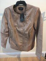 Stolen Heart Illusion Vegan Leather Panel Jacket Beige Tan Brown UK16