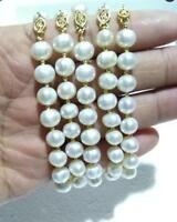 """5PC AAA 8-9MM ROUND SOUTH SEA GENUINE WHITE PEARL BRACELET 7.5-8"""" 14K GOLD CLASP"""