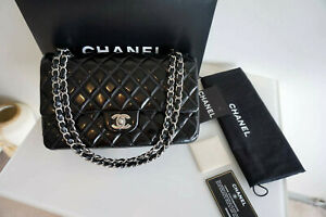 100% Auth. Chanel Classic Medium Double Flap Black Patent Leather Bag STHW