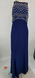 CACHET formal dress Embellished Beaded Mesh Blue Long Size 10 Sleeveless