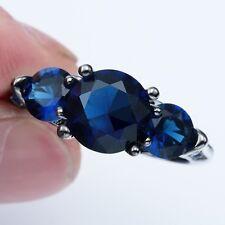 Fashion Jewelry Sapphire Gemstone 14KT Black Gold Filled  Ring Size9 JHB1039