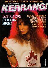 Lee Aaron on Kerrang No: 145 Cover 1987  Vinnie Vincent Invasion Zodiac Mindwarp