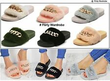 Womens Diamante Fur Chain Sliders Flip Flop Rubber Slippers Ladies Flats Shoes