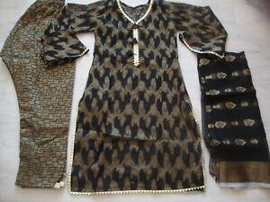 New Jacquard Banarsi  Lawn  Suit stitched SMALL Salwar Kameez Pakistani SALE £25