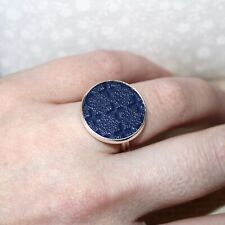 Cute Silver plated/faux leather adjustable ring Navy Blue