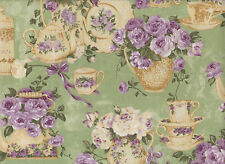 Teacup and Roses~Rose Garden Tea for Two~Ro Gregg~Green~RARE~Fat Quarter