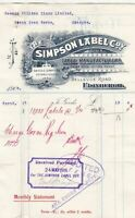 The Simpson Label Company Logo Edinburgh 1906 Label Manf. Paid Receipt Ref 40642