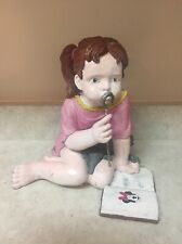 Vintage Pig Tail Girl Blowing Bubbles,Reading Minnie Mouse, Holding Kitten 8.5""