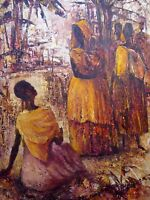 OIL ON BOARD TRIBAL WOMEN LISTED ARTIST JOHN SELDON 1962  FREE SHIPPING ENGLAND