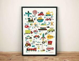 Children's Vehicles Alphabet Print, kids wall art, illustration art poster, A3