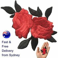 Two Roses with leaves Iron on patch - red rose flower blossom iron-on patches