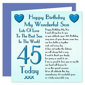 My Wonderful Son Lots Of Love Happy Birthday Card - Age Range 16 - 60 Years