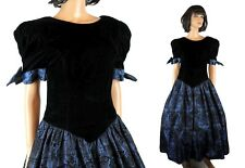 80s Prom Dress Sz S Vintage Black Velvet Blue Flocked Taffeta Long Gown Costume