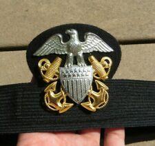 WW2 USN US NAVY DRESS HAT CAP Badge INSIGNIA w/ Band