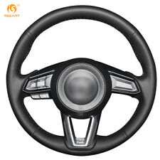 Smooth Black Leather Steering Wheel Cover for Mazda 3 CX-5 2017 CX-9 2016 2017