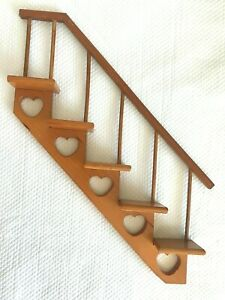 Vintage Wood Wall Knick Knack Shelf Staircase 5 Steps with Hearts Golden Pine