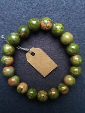 brancelet natural stones, hand made, green/rose epidote 10mm