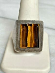 HUGE MEN'S MATEO MEXICO 950 STERLING SILVER & TIGER'S EYE RING SIZE 12, 34.4 GR