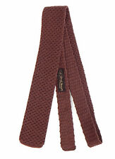 Paul Stuart Sharp! Rich Brown Square Tip Woven Skinny Wool Neck Tie