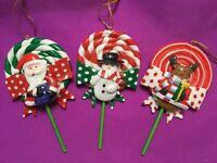 1 Set of 3 Polymer Clay Lollipop Christmas Ornaments: Santa, Snowman, & Reindeer