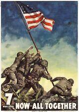WWII American Flag Raising Propaganda Poster - WW2 Iwo Jima Memorial Photo USS