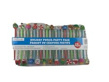 Creatology Holiday Pencils Party Pack 48 Pcs of 24 Pencils + 24 Erasers