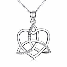925 Sterling Silver CZ Triquetra Trinity Celtic Knot Heart Pendant Necklace 18""