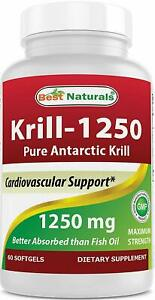 Best Naturals Pure Antarctic Krill Oil 1250 mg (Triple Strength) 60 Softgels