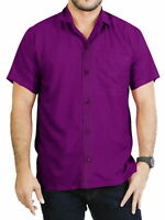 "LA LEELA Rayon Loose Camp Party Men's Shirt Violet Medium | Chest 40"" - 44"""