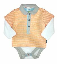 Ted Baker Baby Boy Polo Babygrow Vest Bodysuit Orange Designer 6-9 Months