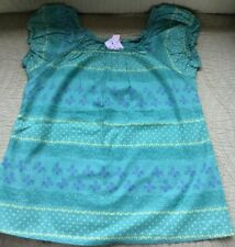 NEW J CREW FACTORY PEASANT BLOUSE/TOP GREEN SHORT SLEEVE WOMEN'S SIZE SMALL