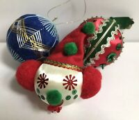 Vintage Mid Century Hand Decorated Sequin Christmas Holiday Ornaments Lot Of 3