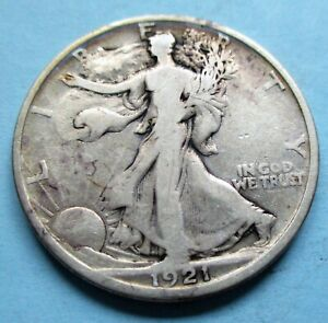 1921-D LIBERTY WALKING 1/2 DOLLAR. F CONDITION. RAW UNCERTIFIED & CIRC. (C)
