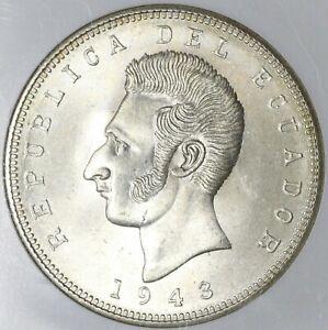 1943 NGC MS 64 Ecuador 5 Sucre Mexico City Mint State Coin (20102502C)