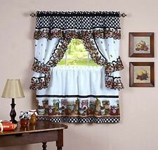 Naturally Home Mason Jars Kitchen Curtain Cottage Set, Tiers and Ruffled Swag,