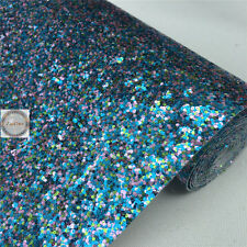Multi-Color Twinkling Chunky Glitter Sparkle Fabric Wedding Craft Vinyl Material