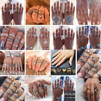12pcs/Set Bagues Anneaux Turquoise Bout De Doigt Knuckle Femme Stack Ring Boho