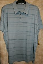NEW APT.9 short sleeve shirt soft knit 3button Polo Blue thin blue stripes XXL
