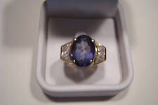 A COLOR ONLY HEAVEN CREATES - IOLITE!! 14KT YELLOW GOLD-OVAL TRILLION & ROUNDS