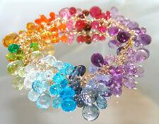 14k Gold Multi Gemstone Charm Bracelet Rainbow Colors