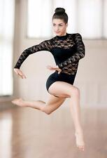 Dance Costume Unitard Medium Adult Black Lace Contemporary Jazz Solo Competition