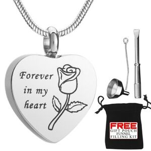 Cremation Ashes Urn Necklace Jewellery Heart Pendent Locket For Memorial Funeral