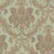 Wallpaper Designer Large Gold Tan Olive Coral Faux Tapestry Damask on Sage Green