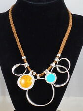 Robert Lee Morris Silver Color Wheel Sculptural Ring Braided Leather Necklace