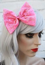 Big Pink Hair Bow Floral Lace Gothic Lolita Vintage Style 50's Retro Look